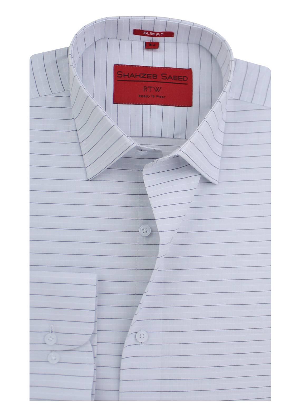 Shahzeb Saeed Cotton Formal Shirts for Men - Blue RTW-1350