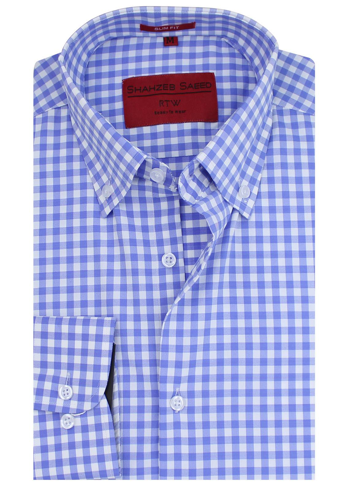 Shahzeb Saeed Cotton Formal Shirts for Men - Sky Blue RTW-1446