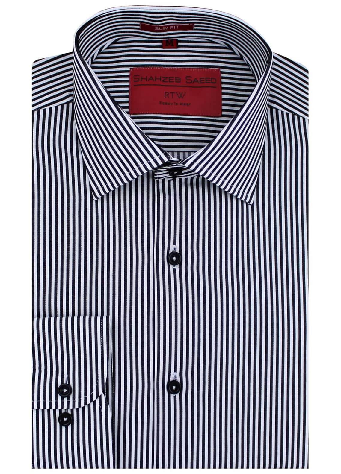 Shahzeb Saeed Cotton Formal Men Shirts - Black RTW-1454