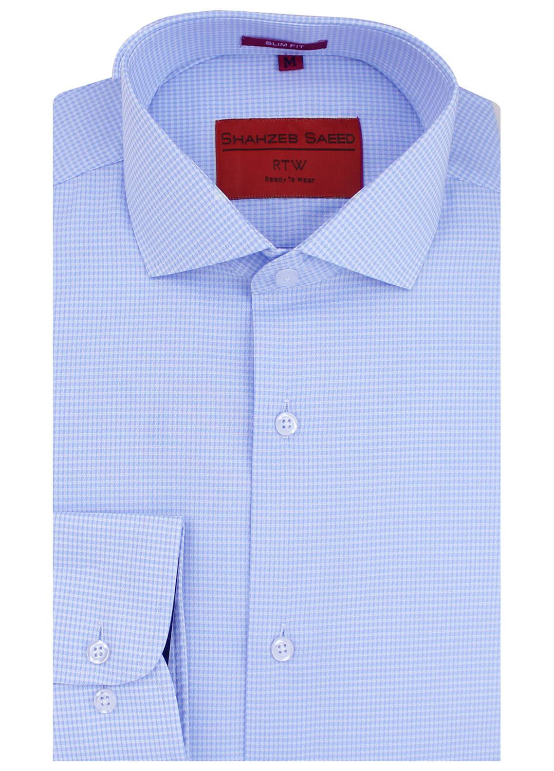 Shahzeb Saeed Cotton Formal Shirts for Men - Sky Blue RTW-1469