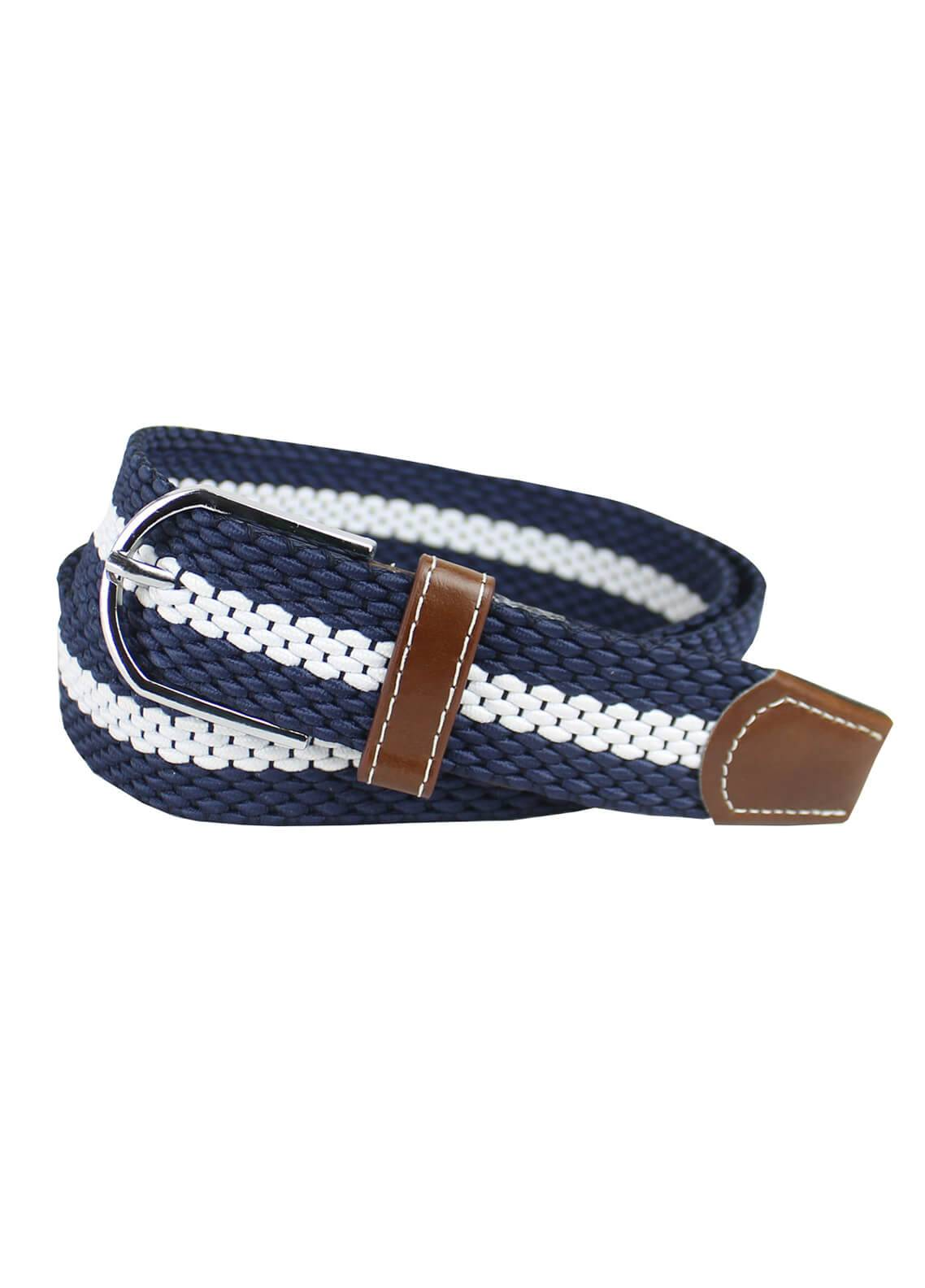 Shahzeb Saeed Textured Leather Men Belts BELT-134 Navy Blue & White - Casual Accessories
