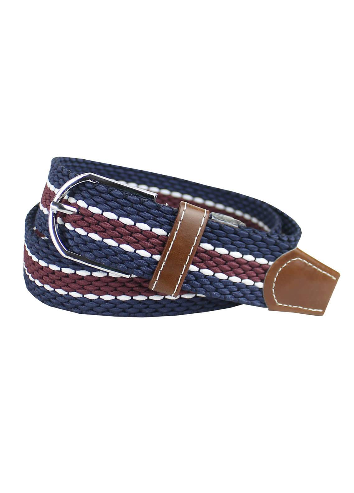 Shahzeb Saeed Textured Leather Men Belts BELT-135 Navy Blue & Maroon - Casual Accessories