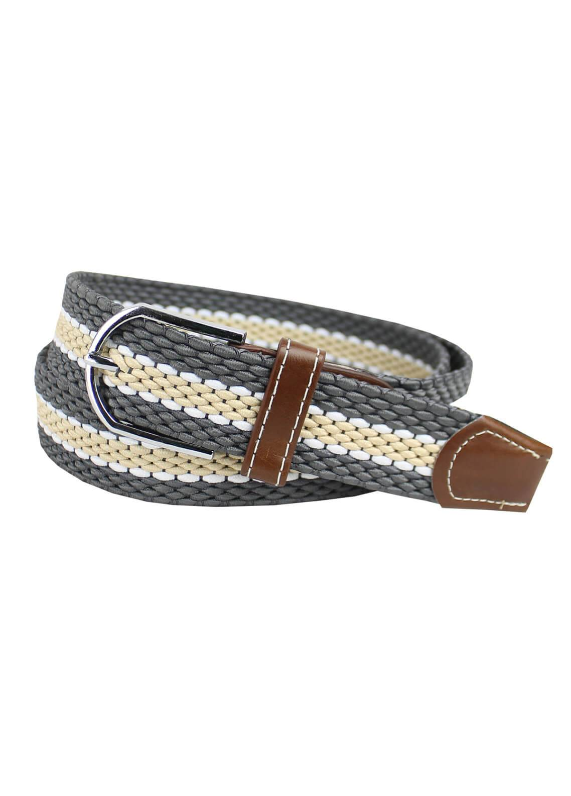 Shahzeb Saeed Textured Leather Men Belts BELT-138 Grey & fawn - Casual Accessories