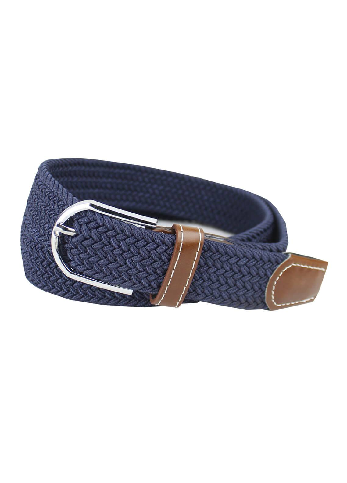 Shahzeb Saeed Textured Leather Men Belts BELT-141 Navy Blue - Casual Accessories