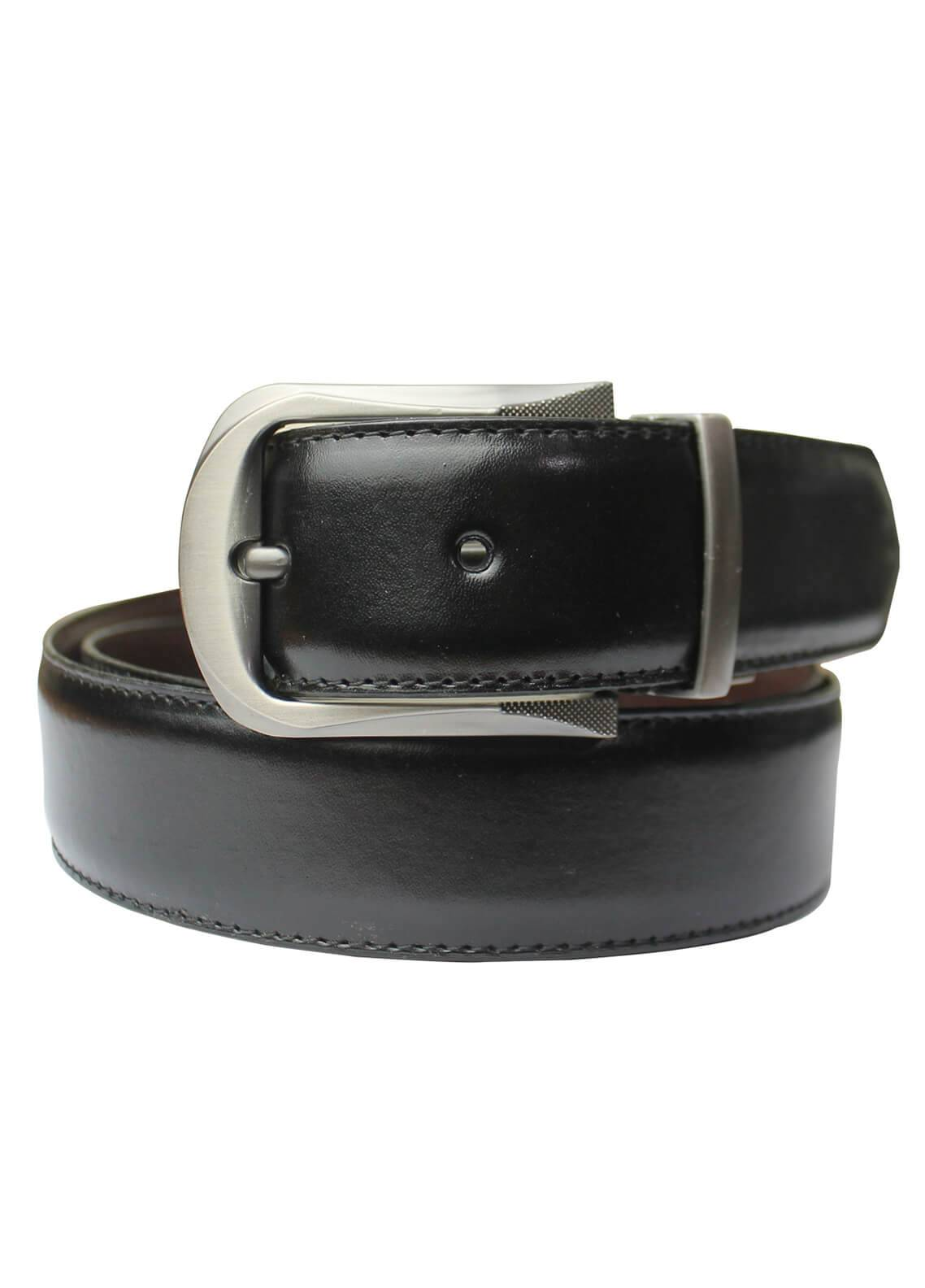 Shahzeb Saeed Textured Leather Men Belts BELT-151 Black - Casual Accessories