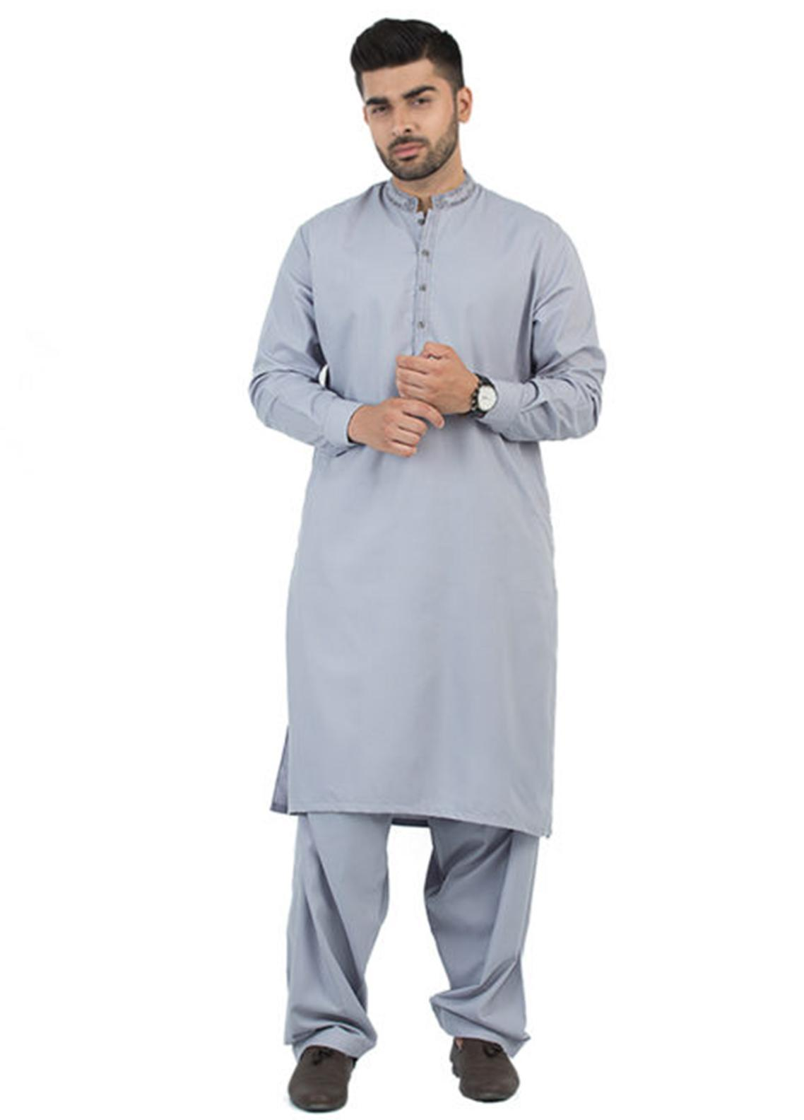 Shahzeb Saeed Wash N Wear Formal Men Kameez Shalwar - Grey SK-193