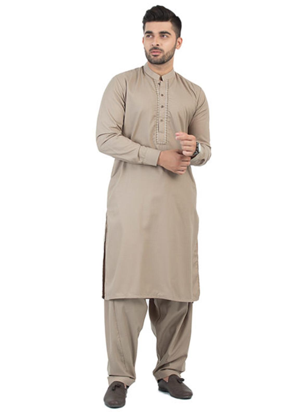 Shahzeb Saeed Wash N Wear Formal Men Kameez Shalwar - Brown SK-195