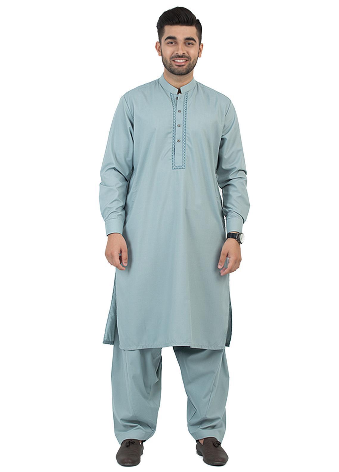 Shahzeb Saeed Wash N Wear Formal Kameez Shalwar for Men - Green SK-196