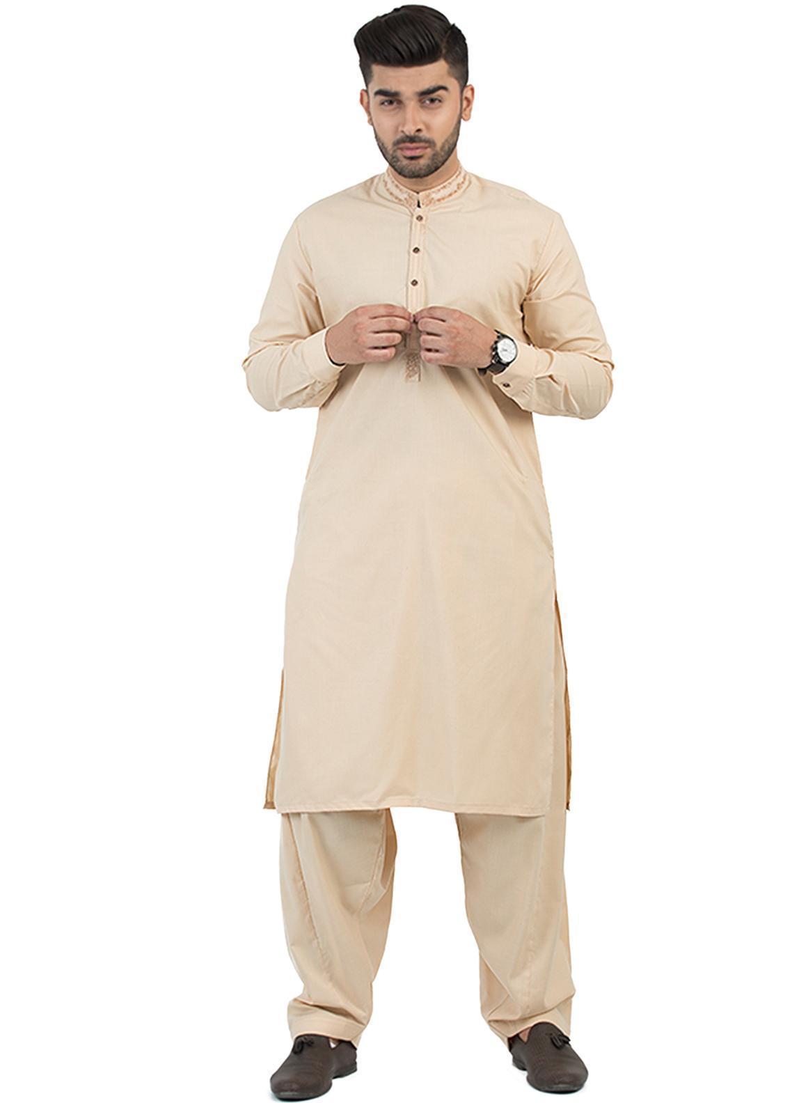 Shahzeb Saeed Wash N Wear Formal Men Kameez Shalwar - Fawn SK-197