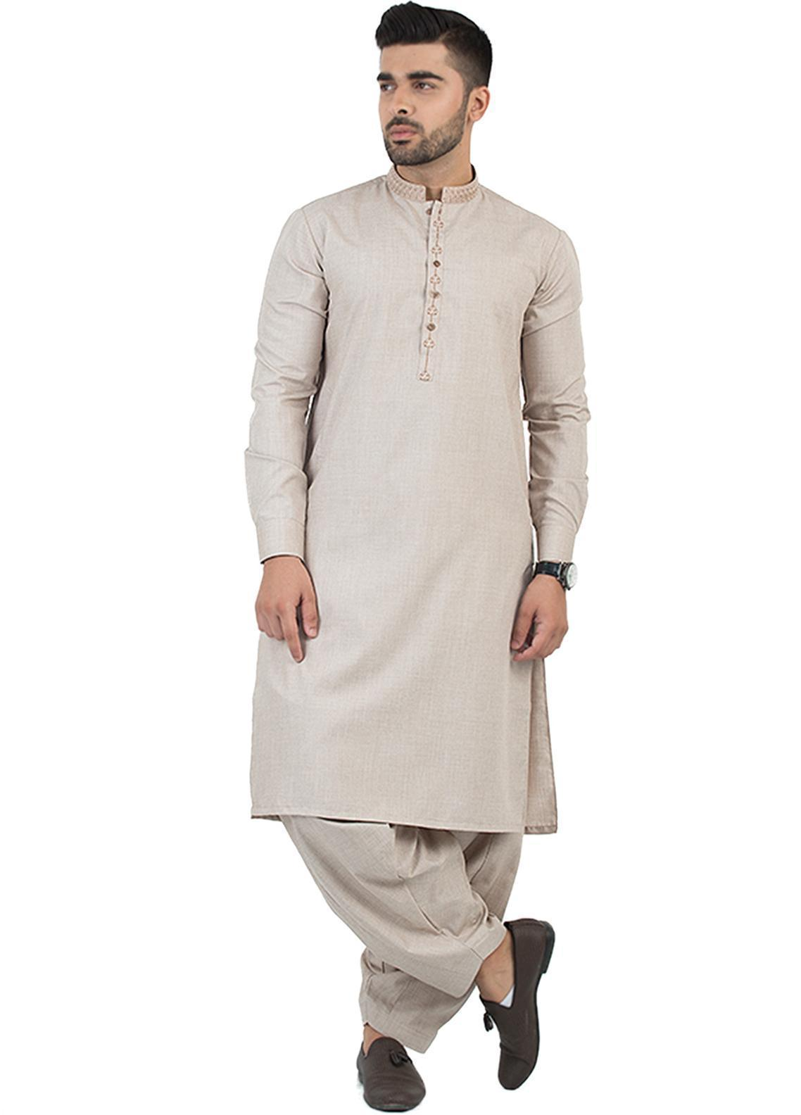 Shahzeb Saeed Wash N Wear Formal Men Kameez Shalwar - Beige SK-199