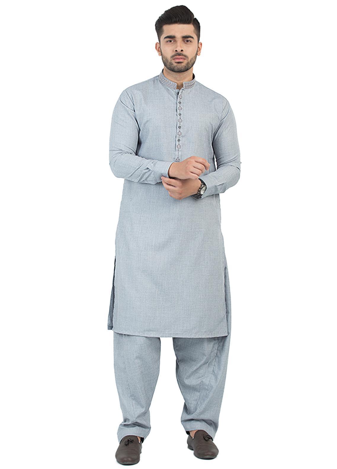 Shahzeb Saeed Wash N Wear Formal Kameez Shalwar for Men - Grey SK-200