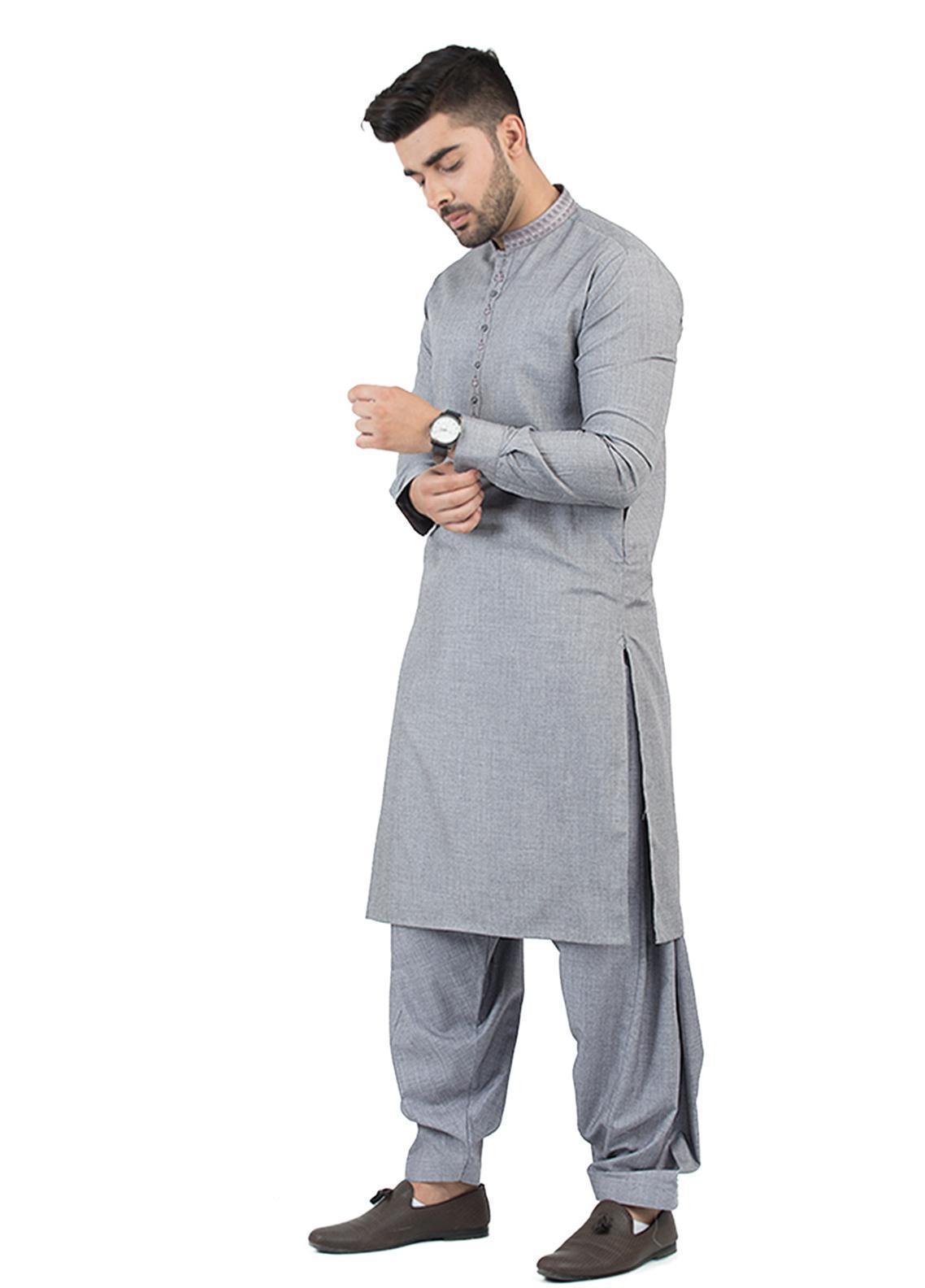 Shahzeb Saeed Wash N Wear Formal Men Kameez Shalwar - Grey SK-201