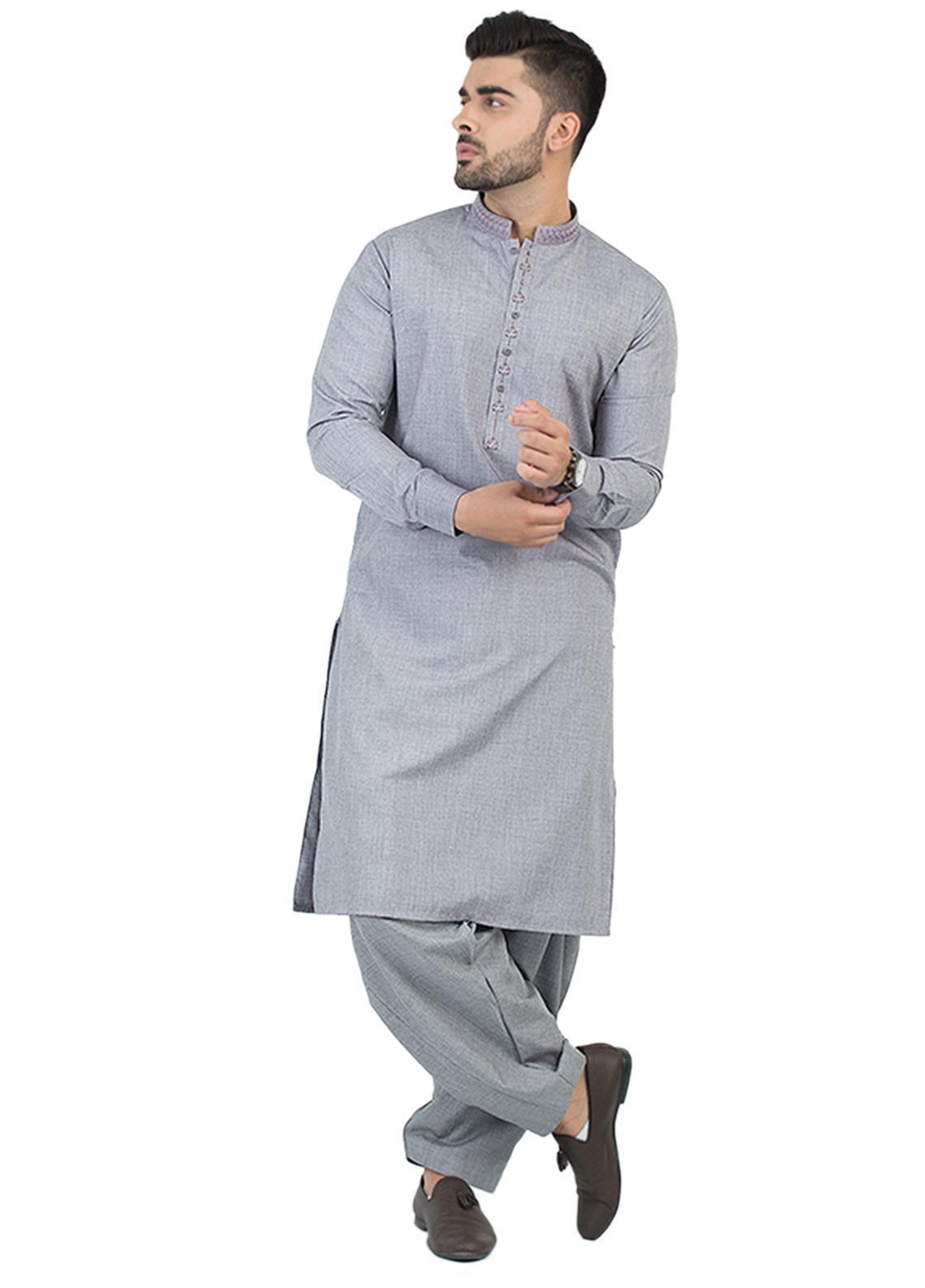 Shahzeb Saeed Wash N Wear Formal Kameez Shalwar for Men - Ash Grey SK-202