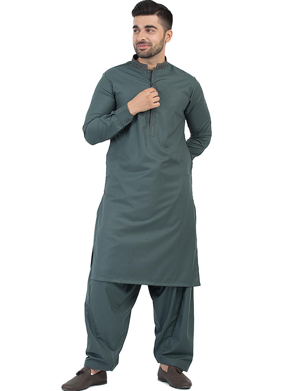 Shahzeb Saeed Wash N Wear Formal Men Kameez Shalwar - Grey SK-203