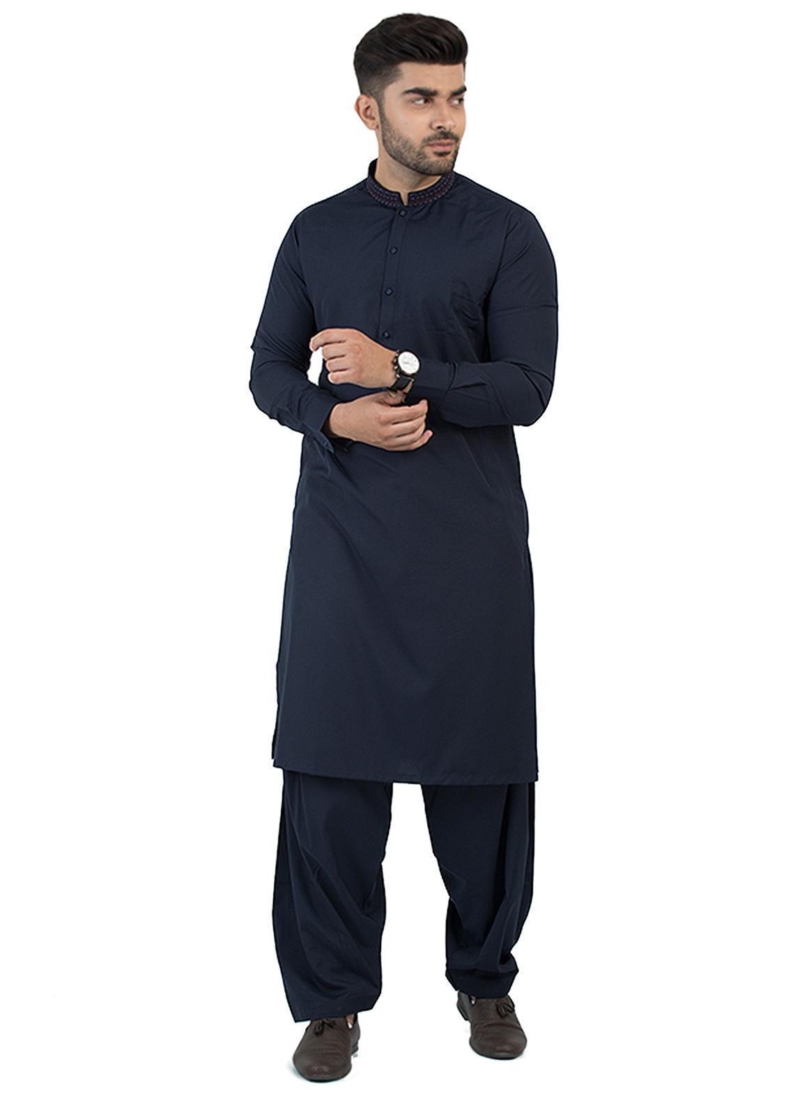 Shahzeb Saeed Wash N Wear Formal Kameez Shalwar for Men - Navy Blue SK-204