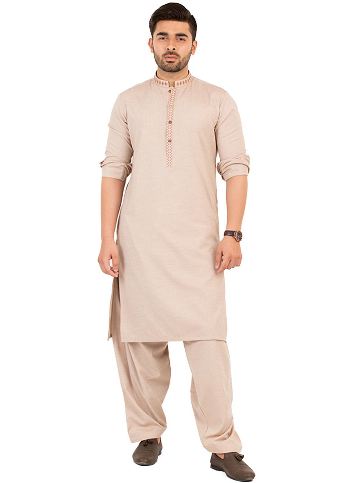 Shahzeb Saeed Wash N Wear Formal Men Kameez Shalwar - Fawn SK-205