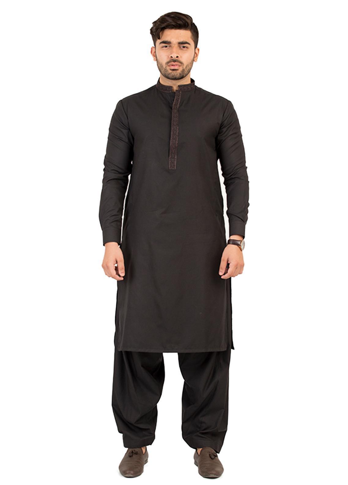 Shahzeb Saeed Wash N Wear Formal Kameez Shalwar for Men - Black SK-206