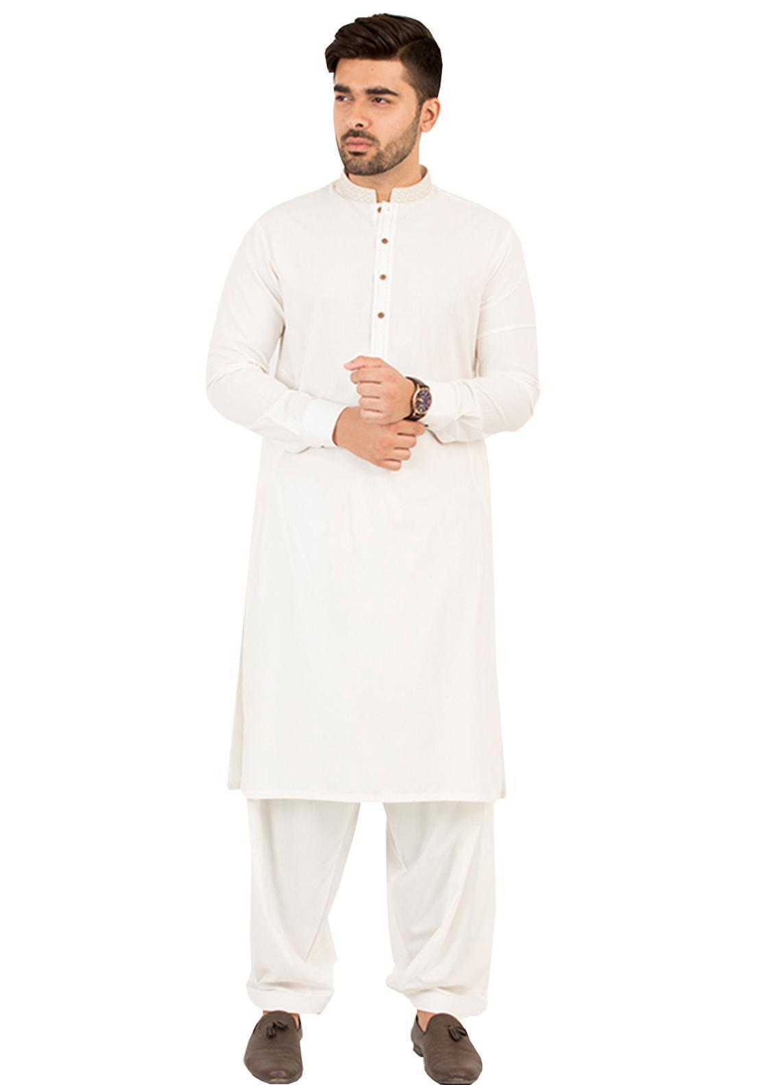 Shahzeb Saeed Wash N Wear Formal Men Kameez Shalwar - Off White SK-207