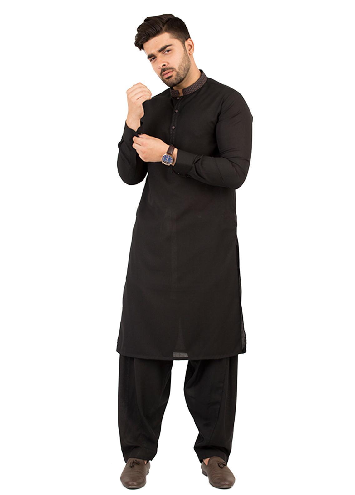 Shahzeb Saeed Wash N Wear Formal Kameez Shalwar for Men - Black SK-208
