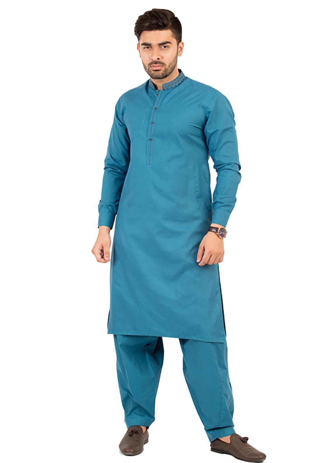 Shahzeb Saeed Wash N Wear Formal Men Kameez Shalwar - Turquoise SK-209