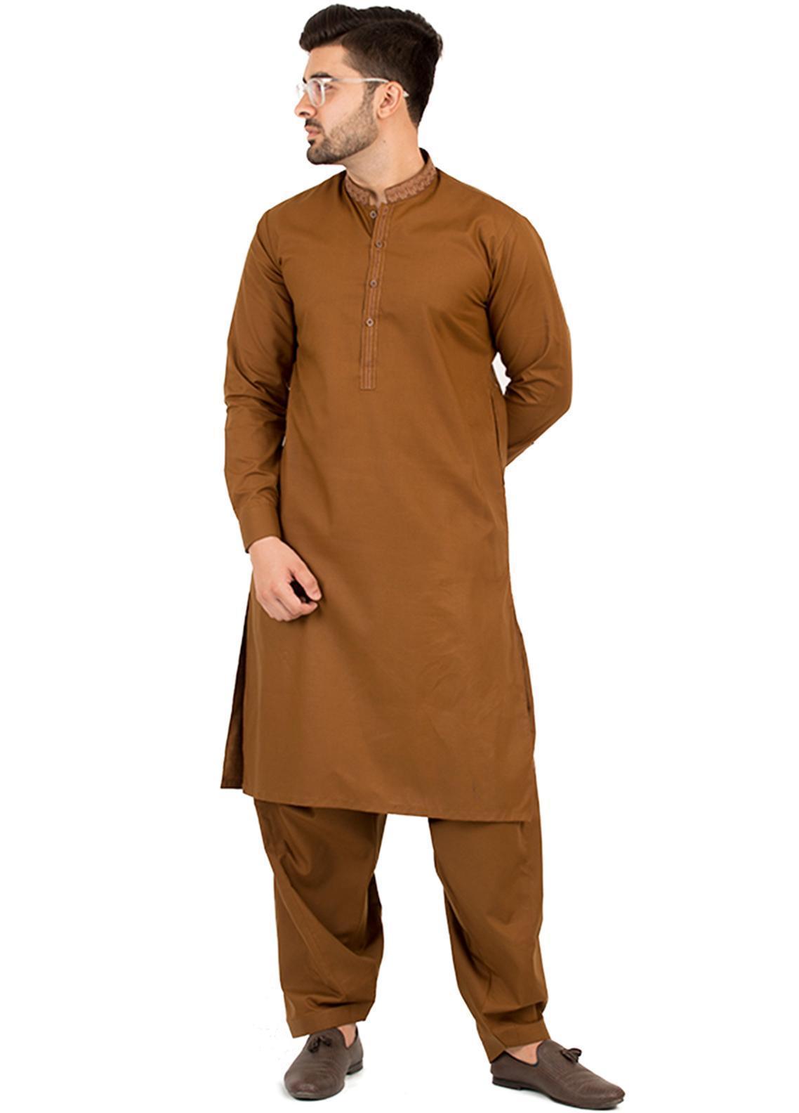 Shahzeb Saeed Wash N Wear Formal Kameez Shalwar for Men - Brown SK-210