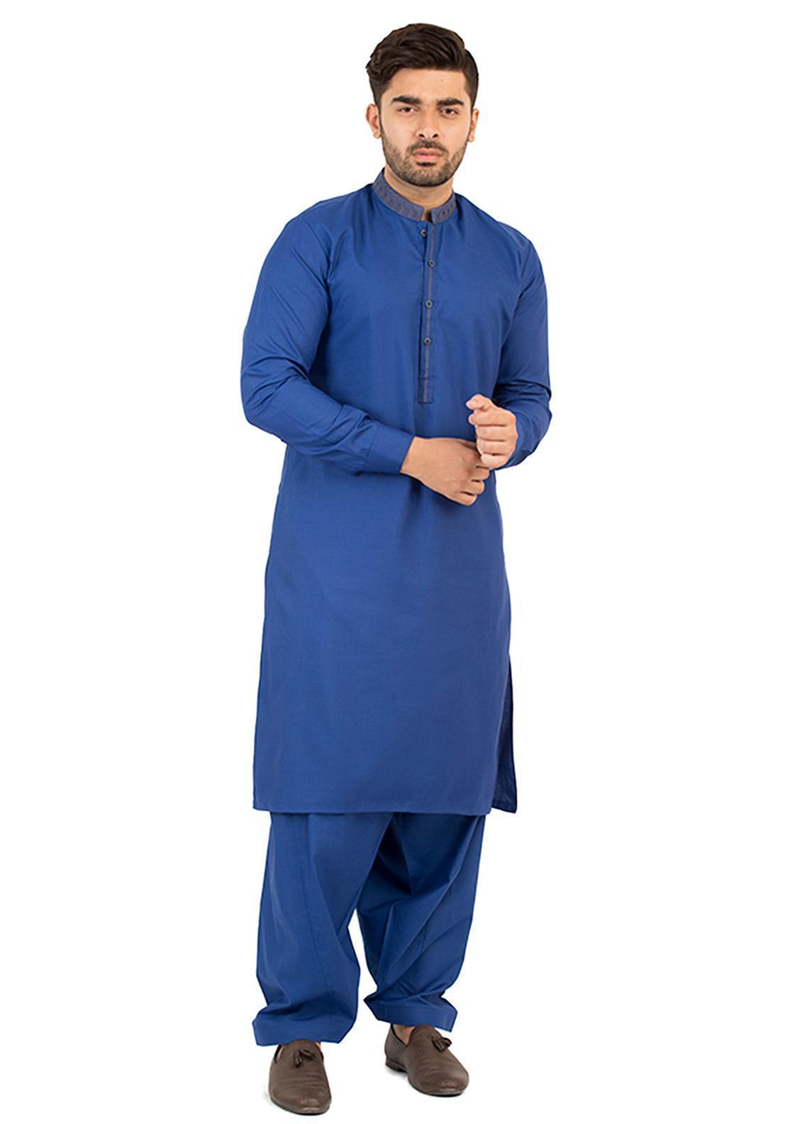 Shahzeb Saeed Wash N Wear Formal Men Kameez Shalwar - Royal Blue SK-211