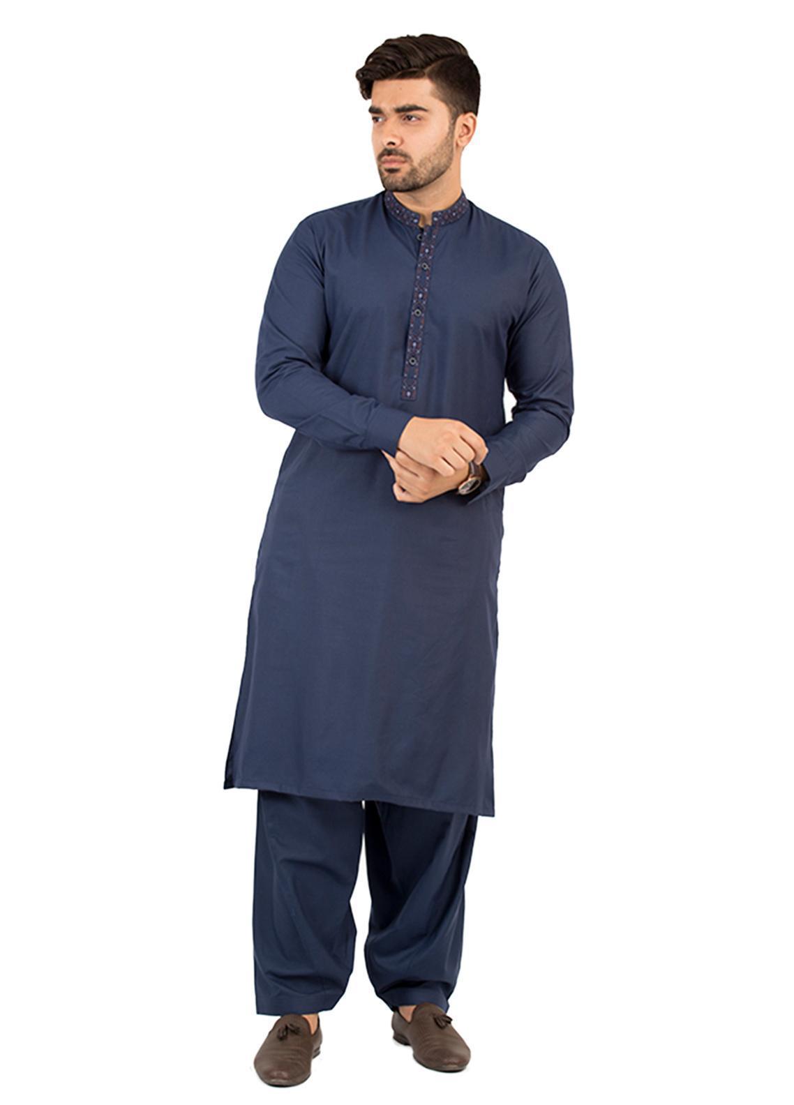 Shahzeb Saeed Wash N Wear Formal Kameez Shalwar for Men - Navy Blue SK-212