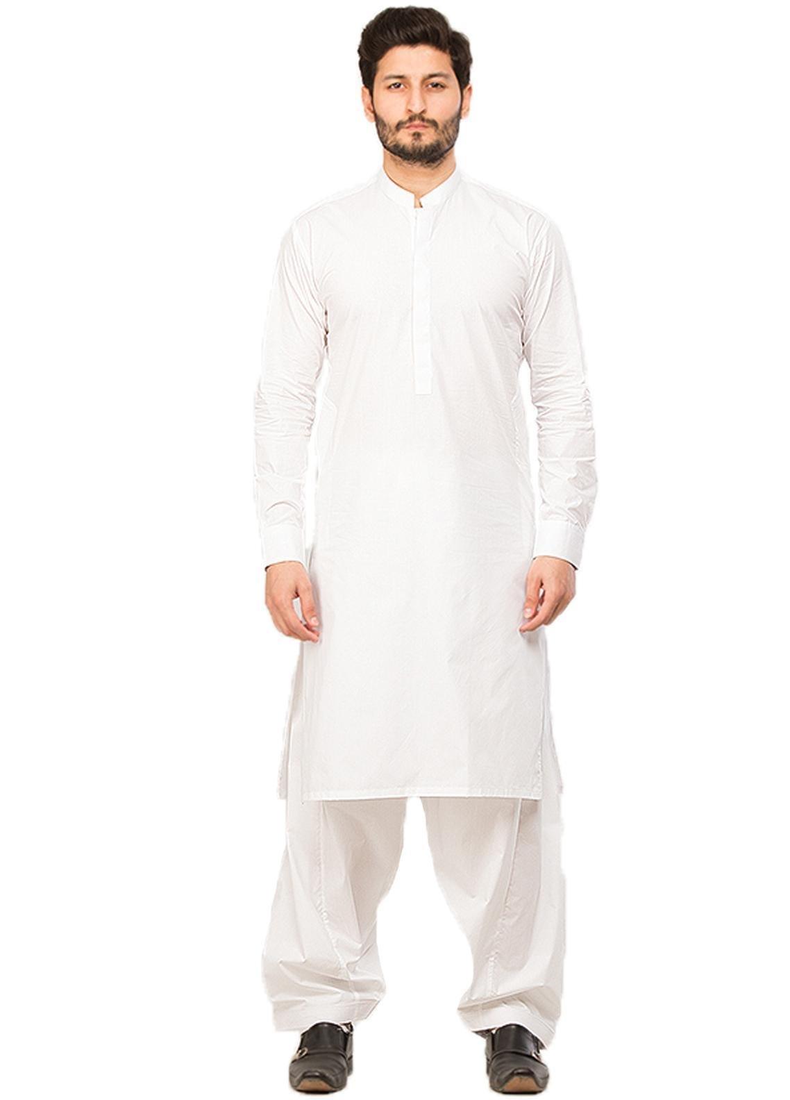 Shahzeb Saeed Wash N Wear Formal Kameez Shalwar for Men - White SK-217