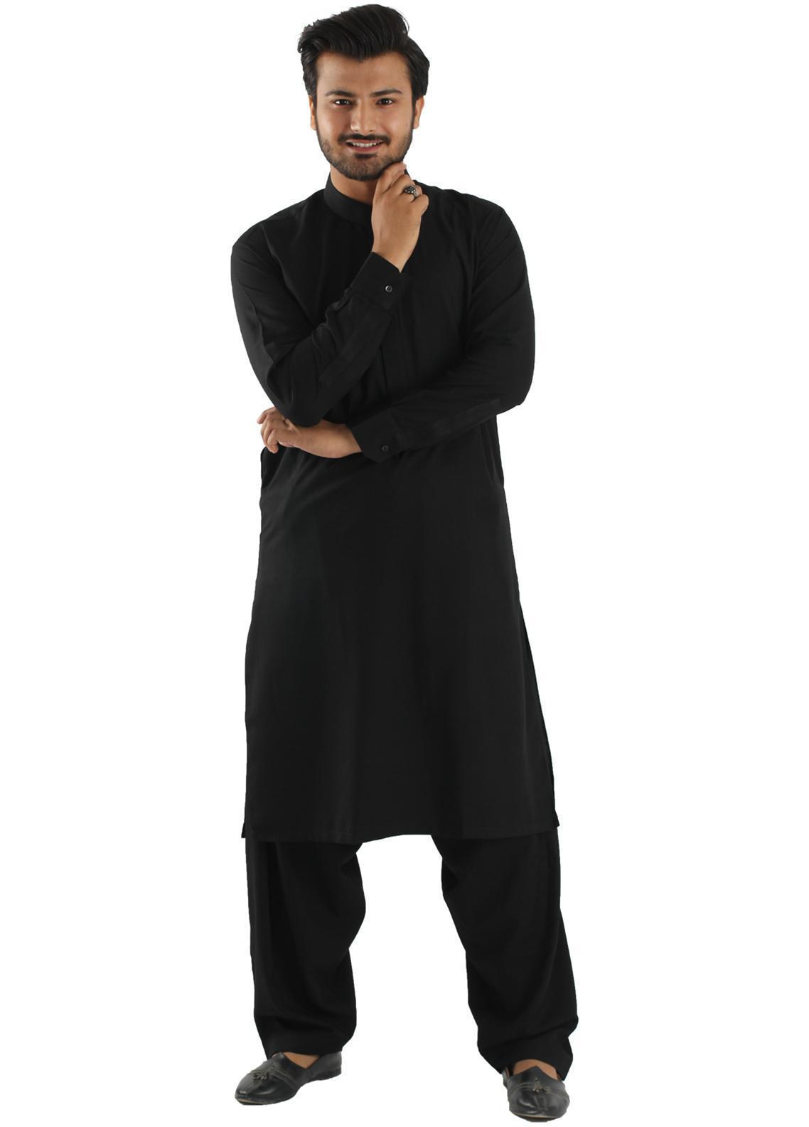 Shahzeb Saeed Wash N Wear Formal Men Kameez Shalwar - Black SK-218