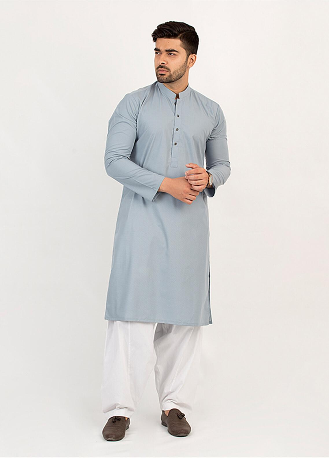 Shahzeb Saeed Wash N Wear Formal Kurta for Men - Grey KURTA-101