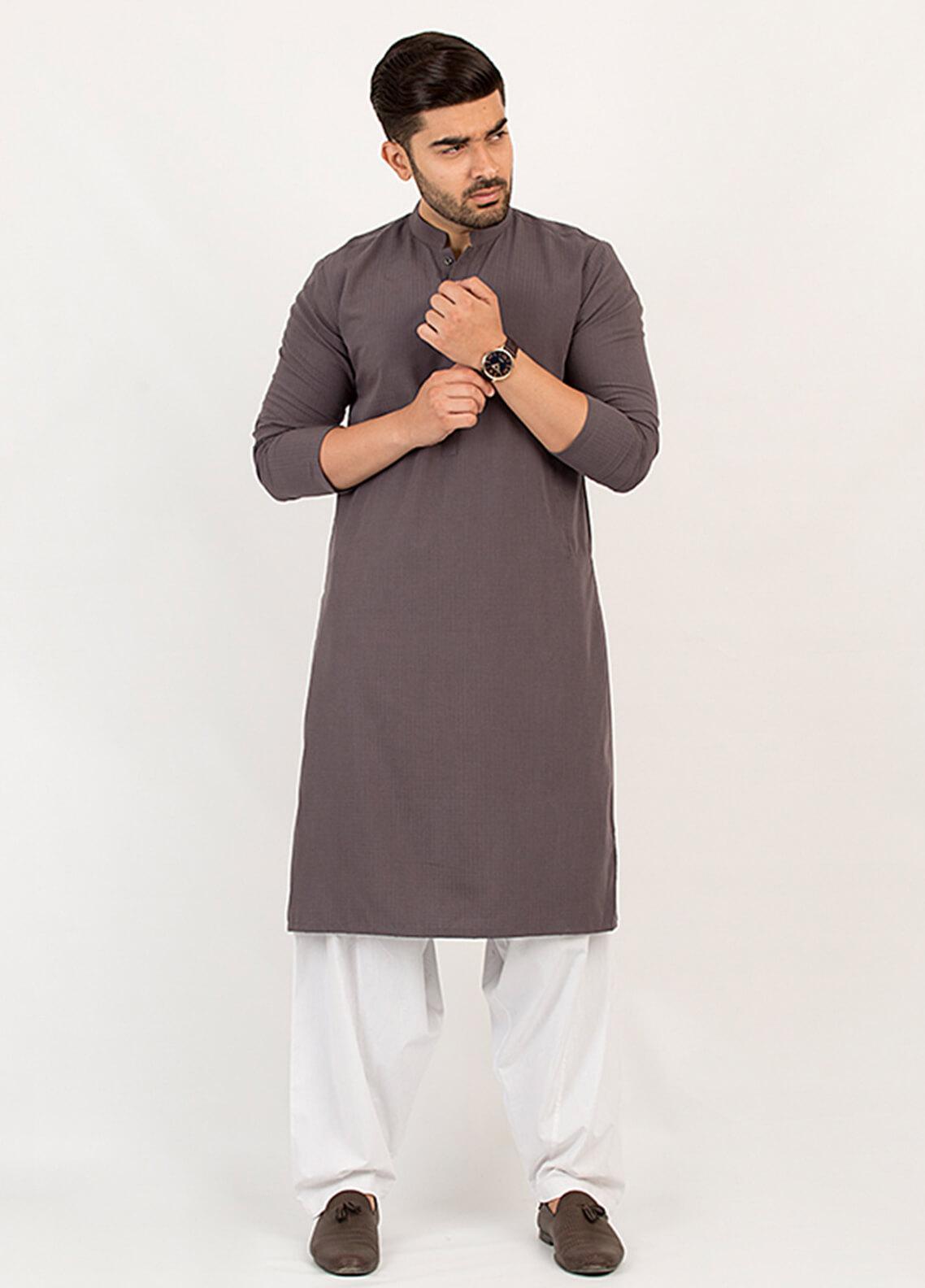 Shahzeb Saeed Wash N Wear Formal Men Kurta - Dark Grey KURTA-102