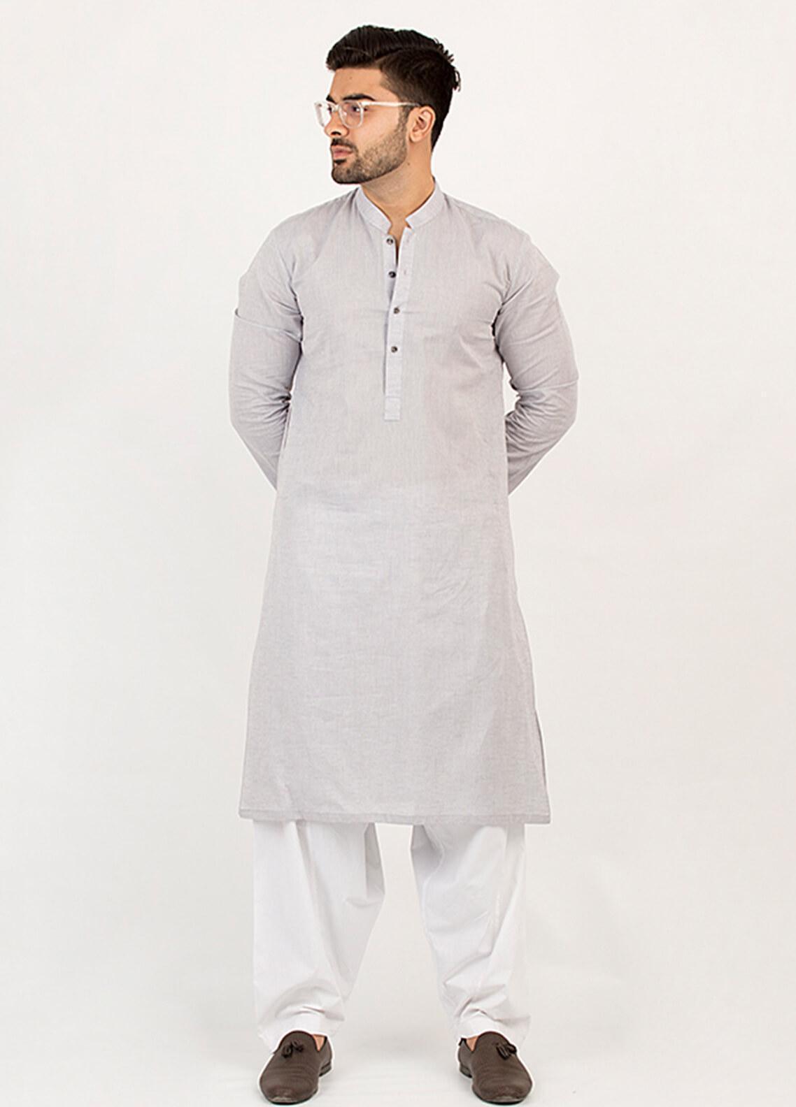 Shahzeb Saeed Wash N Wear Formal Kurta for Men - Grey KURTA-103