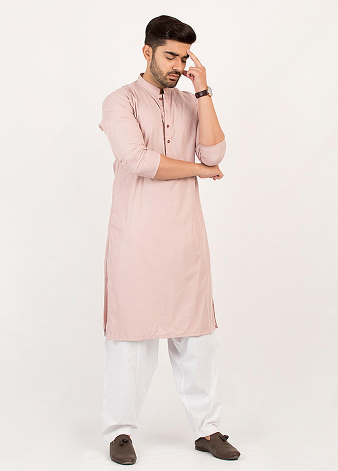 Shahzeb Saeed Wash N Wear Formal Men Kurta - Pink KURTA-104