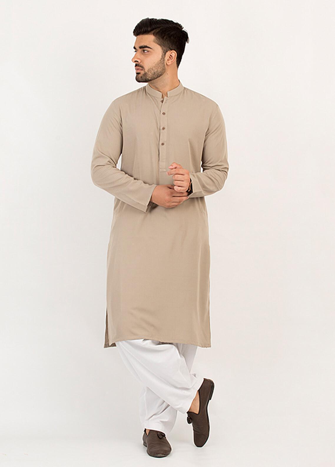 Shahzeb Saeed Wash N Wear Formal Kurta for Men - Fawn KURTA-105