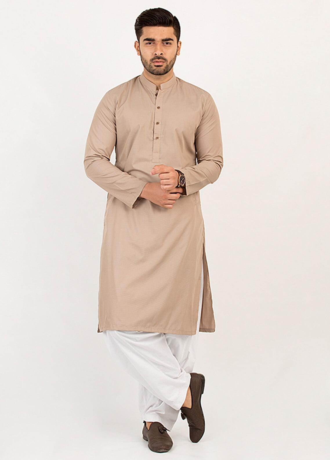 Shahzeb Saeed Wash N Wear Formal Men Kurta - Beige KURTA-106