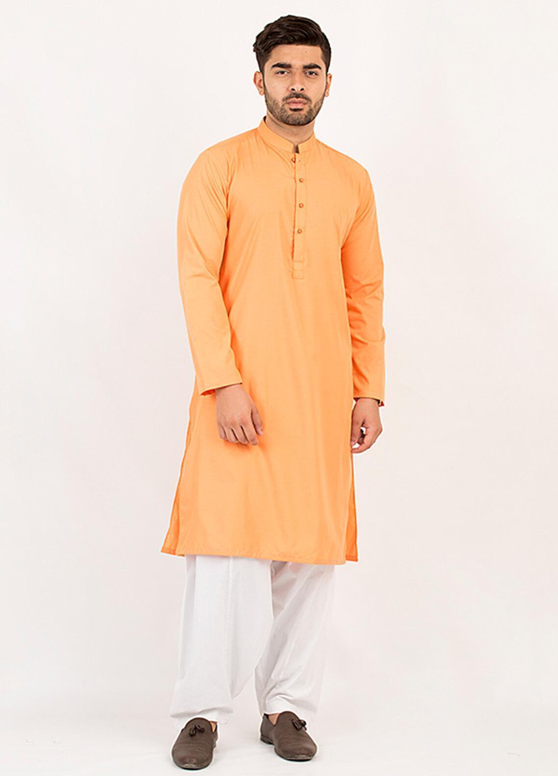 Shahzeb Saeed Wash N Wear Formal Kurta for Men - Orange KURTA-107