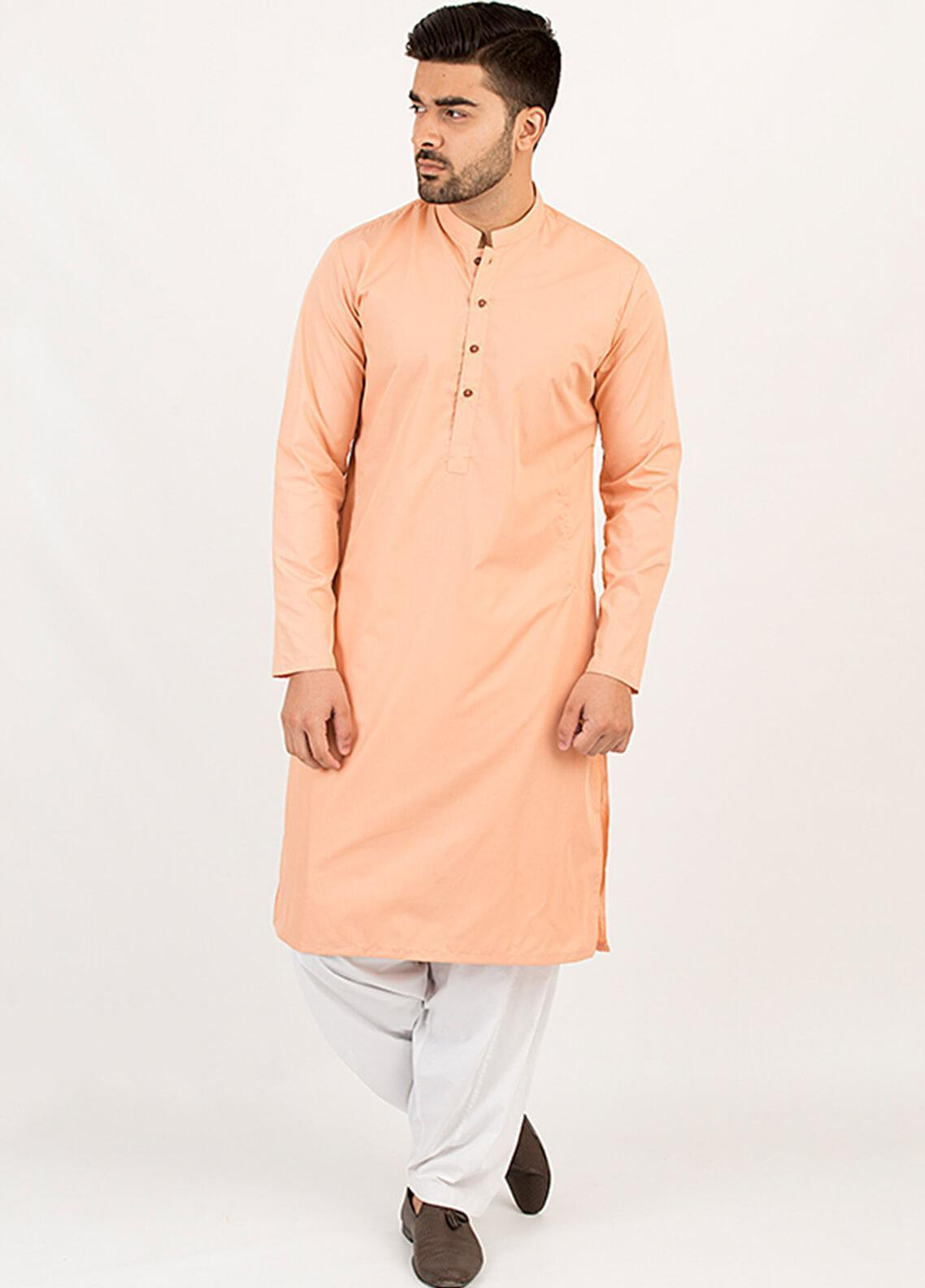Shahzeb Saeed Wash N Wear Formal Men Kurta - Peach KURTA-108