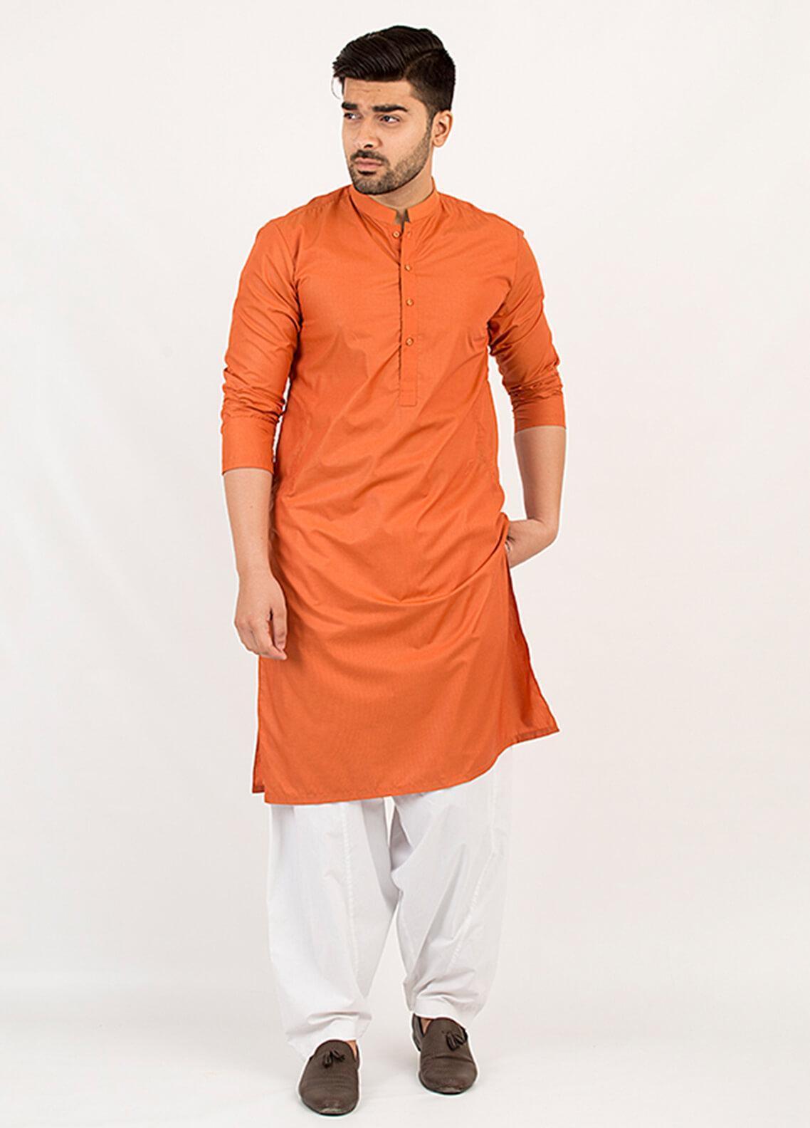 Shahzeb Saeed Wash N Wear Formal Kurta for Men - Rust KURTA-109