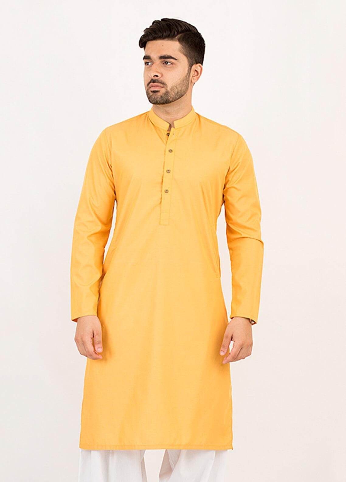 Shahzeb Saeed Wash N Wear Formal Kurta for Men - Mustard KURTA-111