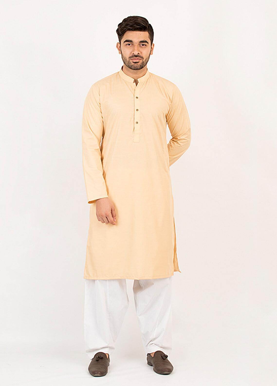 Shahzeb Saeed Wash N Wear Formal Men Kurta - Lemon KURTA-112