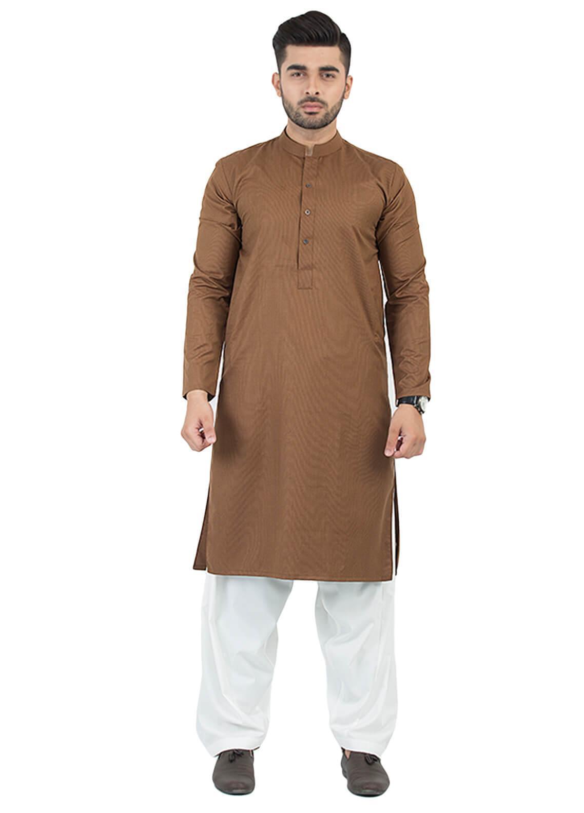 Shahzeb Saeed Wash N Wear Formal Kurta for Men - Brown KURTA-85