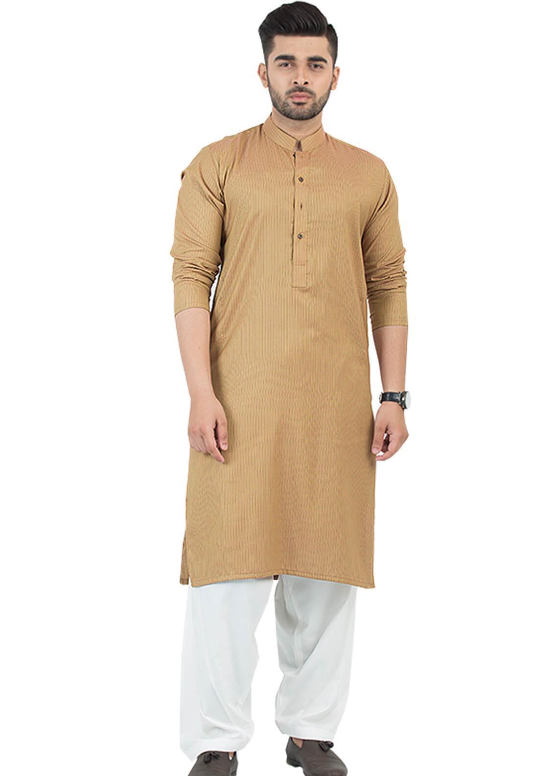 Shahzeb Saeed Wash N Wear Formal Men Kurta - Mustard KURTA-86