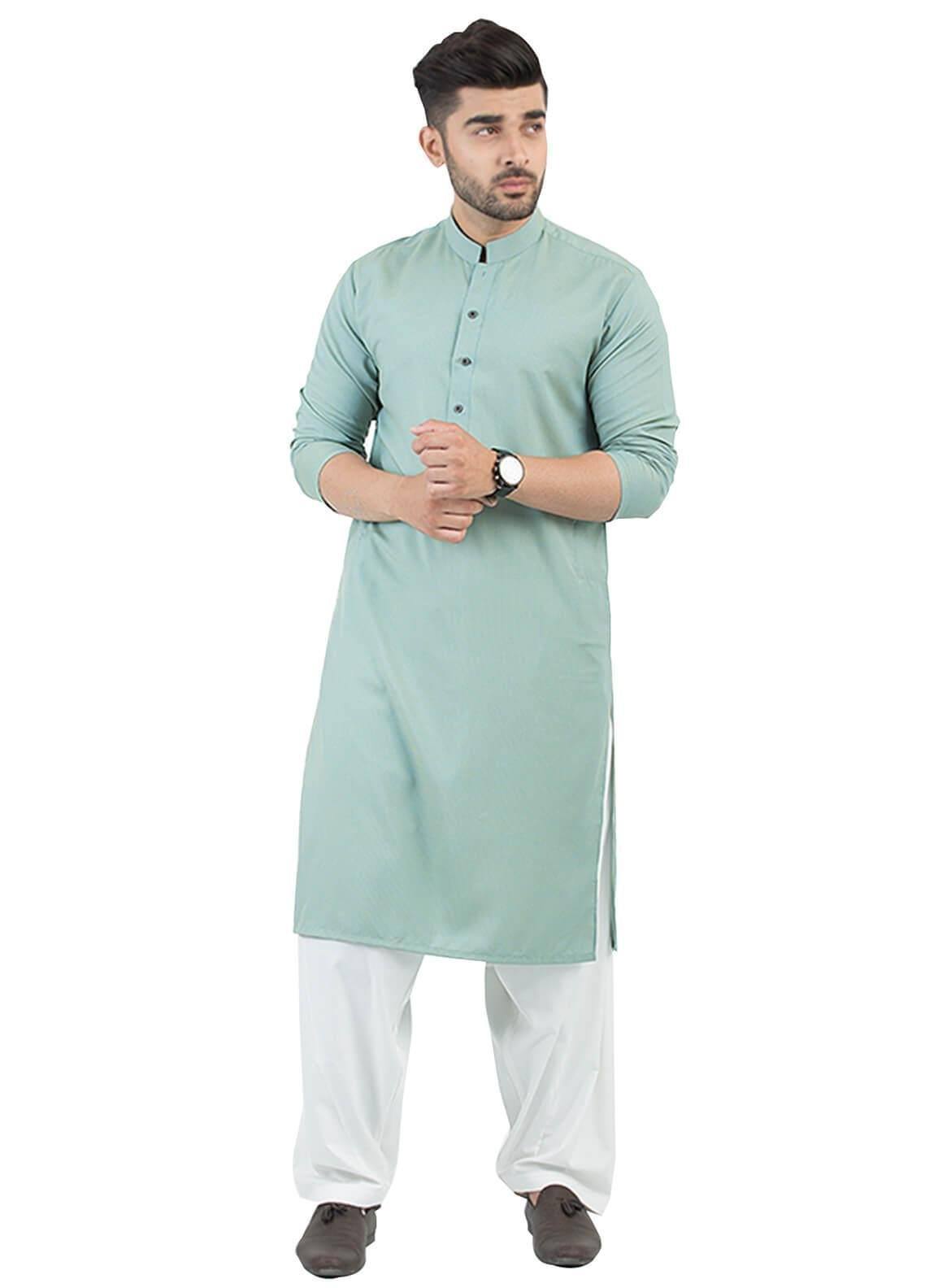 Shahzeb Saeed Wash N Wear Formal Kurta for Men - Green KURTA-87