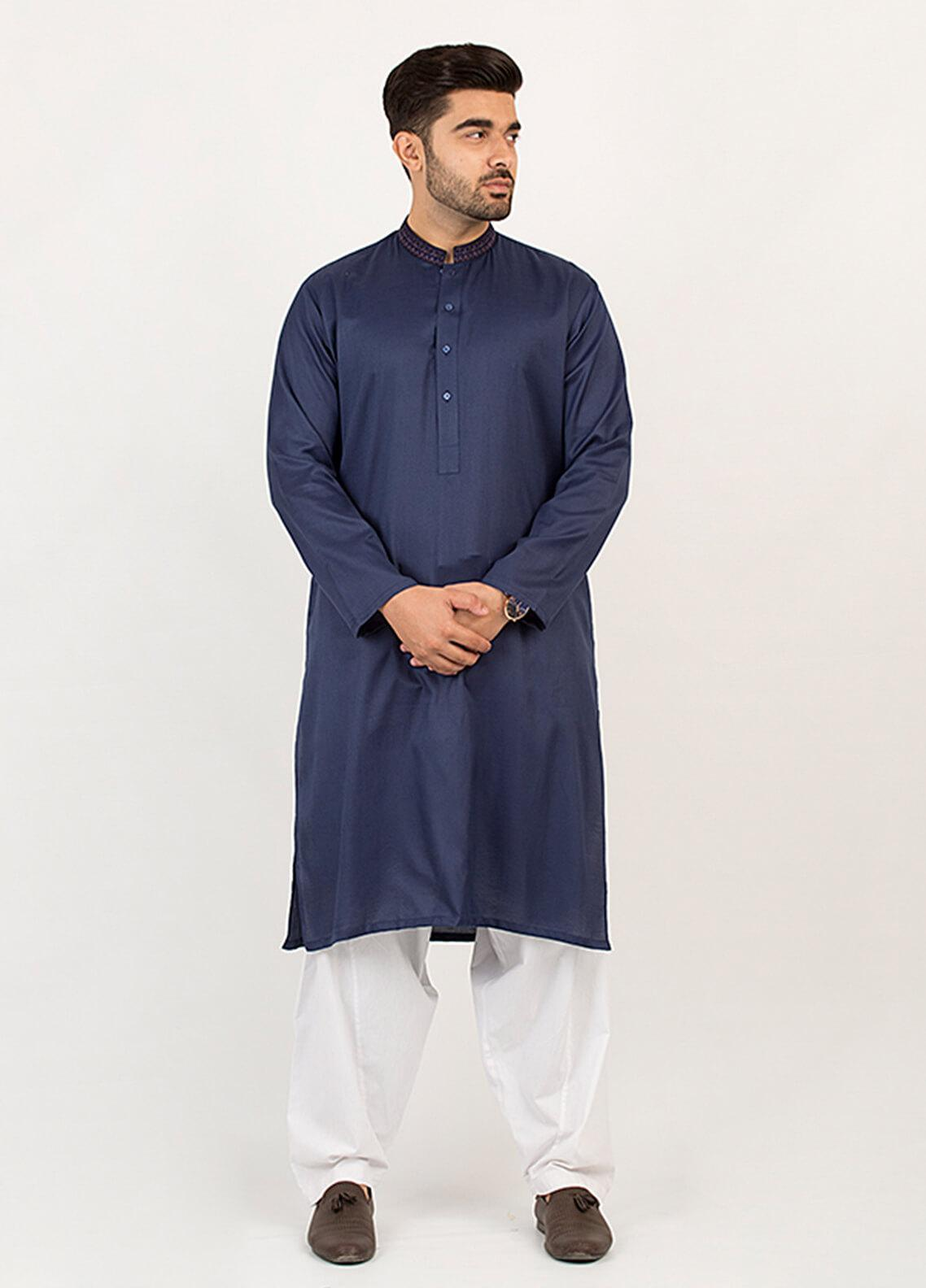 Shahzeb Saeed Wash N Wear Formal Men Kurta - Blue KURTA-88