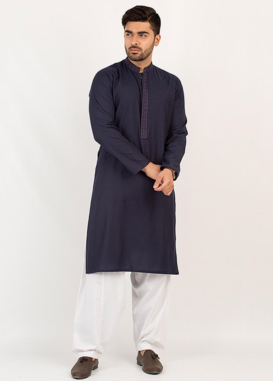 Shahzeb Saeed Wash N Wear Formal Kurta for Men - Blue KURTA-92