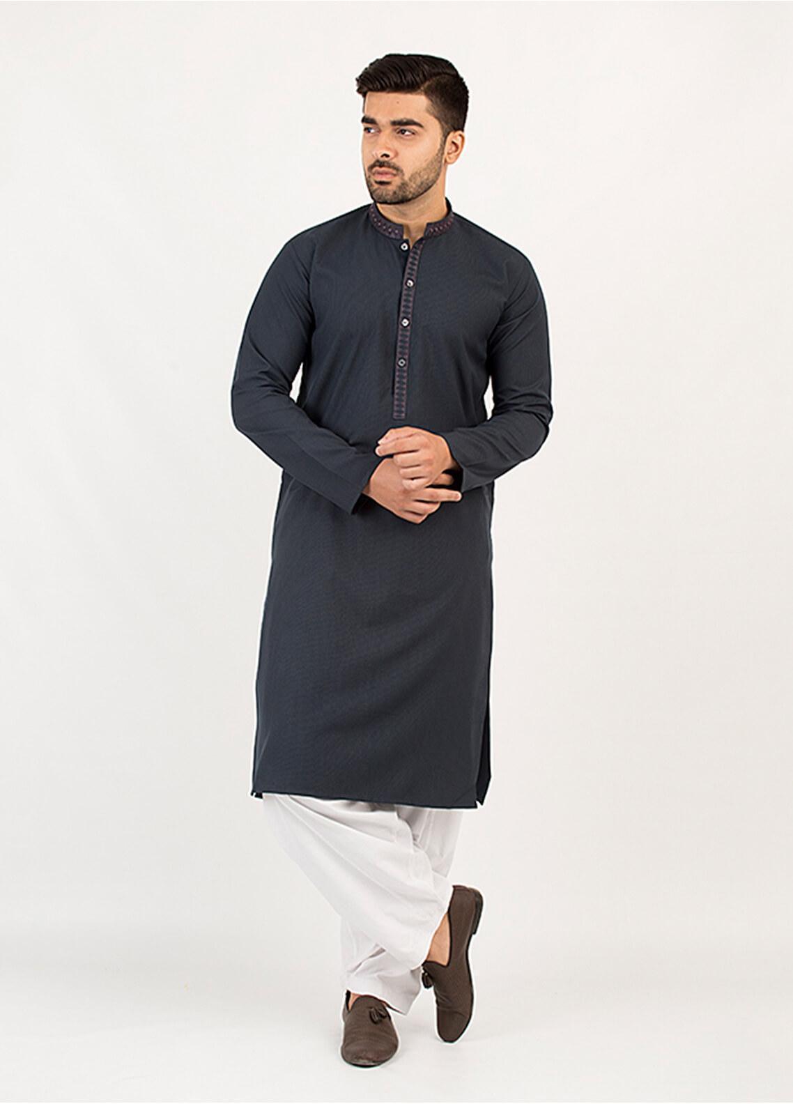 Shahzeb Saeed Wash N Wear Formal Men Kurta - Grey KURTA-93