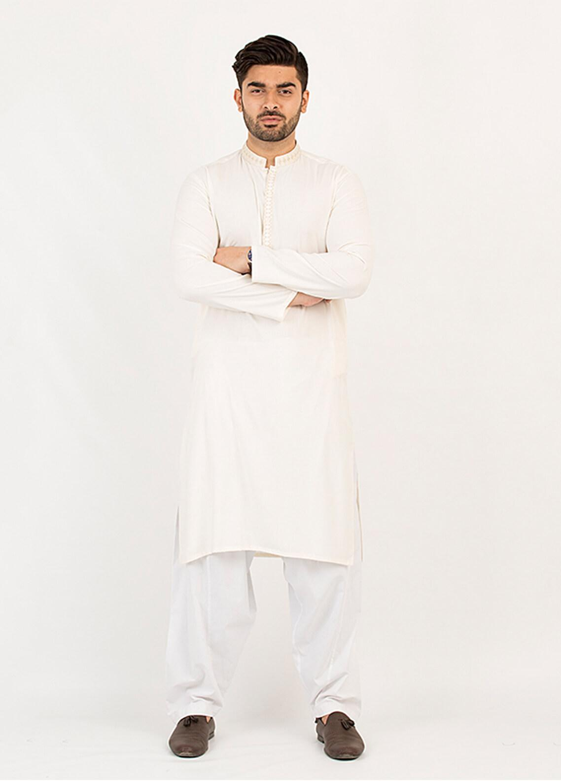 Shahzeb Saeed Wash N Wear Formal Kurta for Men - Cream KURTA-94