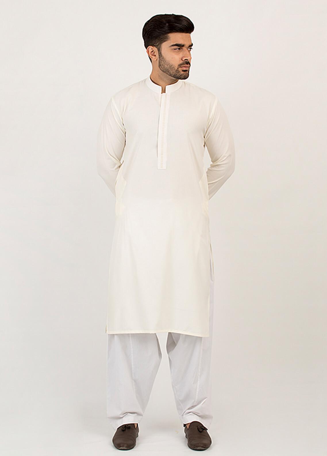 Shahzeb Saeed Wash N Wear Formal Men Kurta - Off White KURTA-95