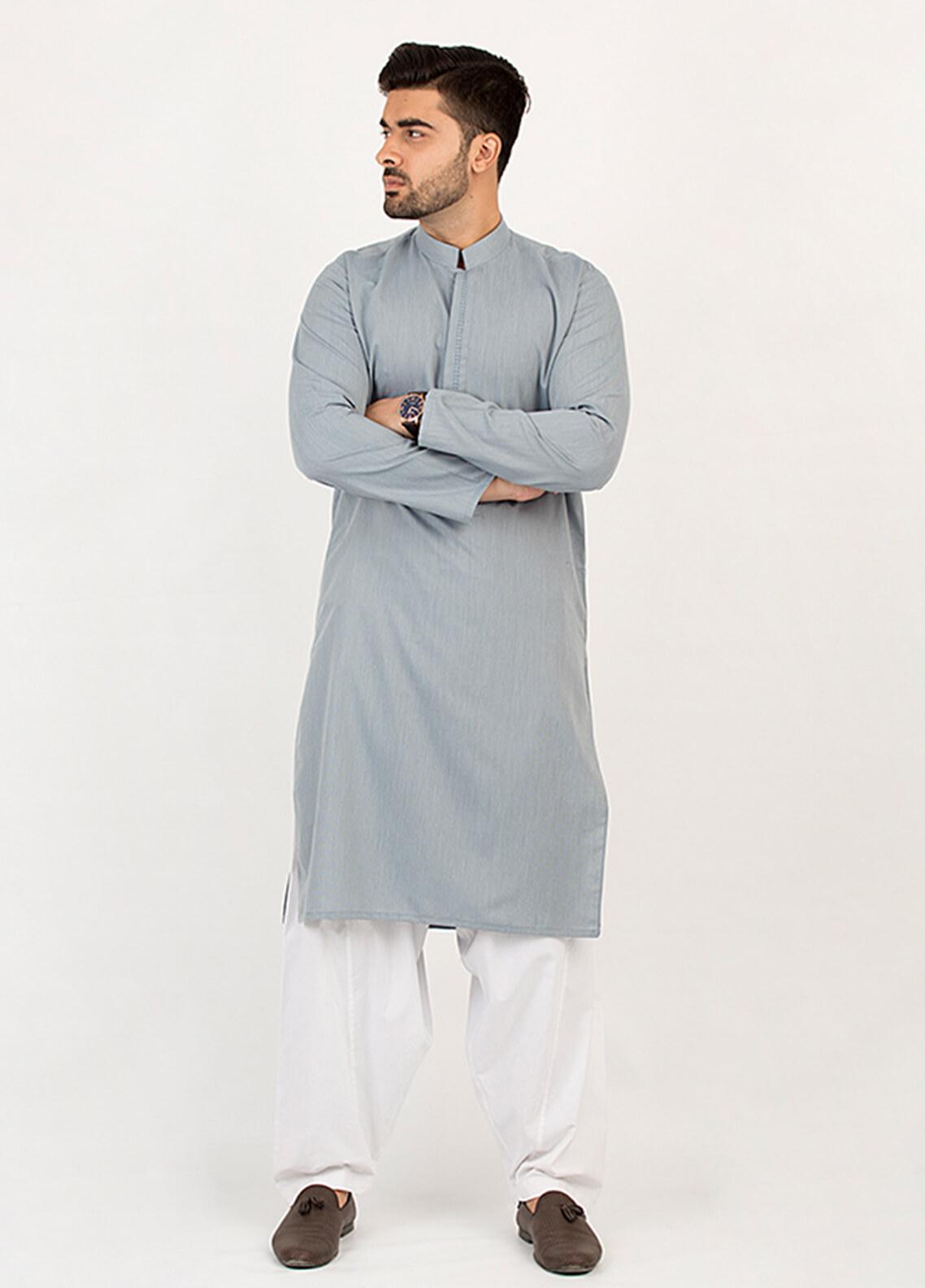 Shahzeb Saeed Wash N Wear Formal Kurta for Men - Grey KURTA-96