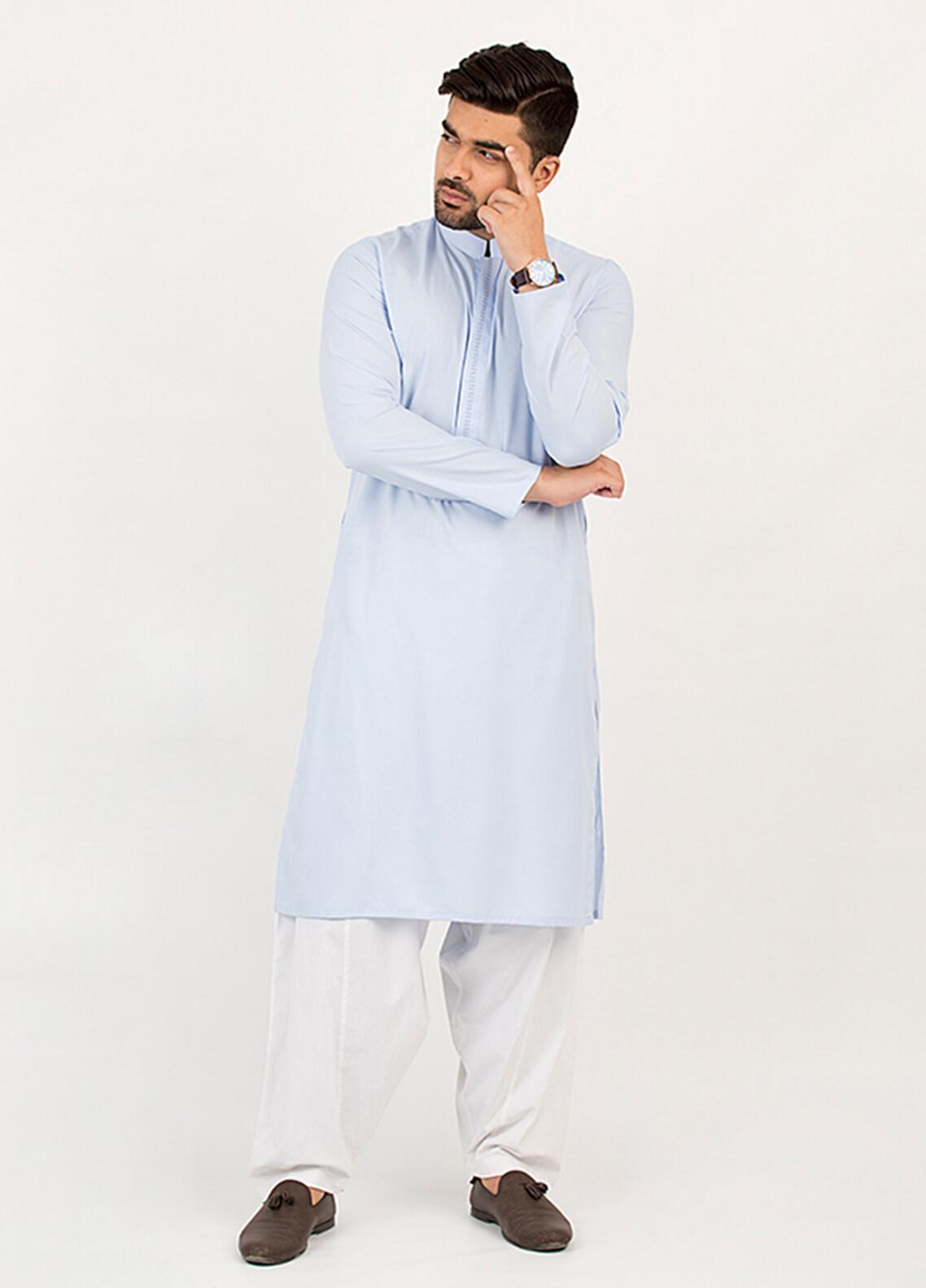 Shahzeb Saeed Wash N Wear Formal Men Kurta - Blue KURTA-97
